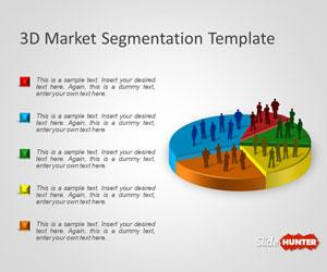 Plantilla PowerPoint con Diagrama de Segmentos de Mercado en 3D