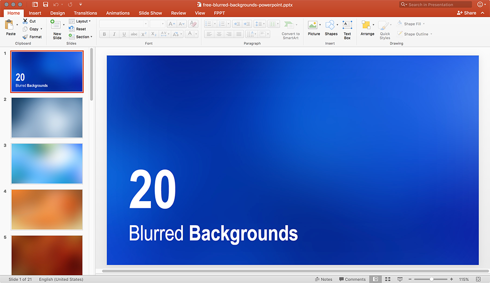 Example of Blurred background in PowerPoint