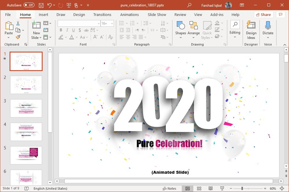 2020 celebration powerpoint template