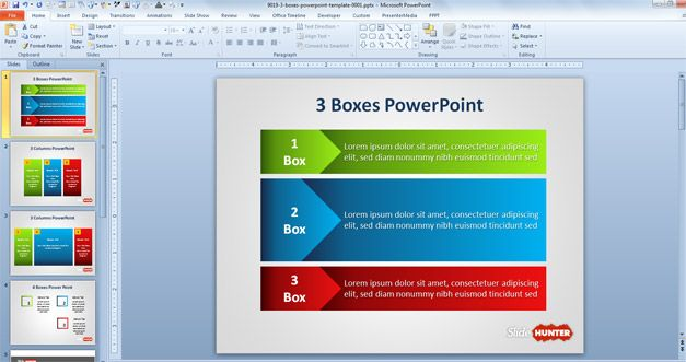 Example of Three Columns in PowerPoint with colors