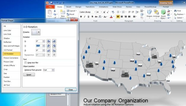 3D Rotation of Map in PowerPoint
