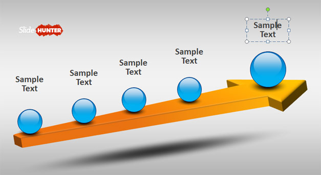 3D timeline design for PowerPoint with spheres and arrow
