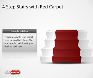 4 Step Stairs & Red Carpet Shapes for PowerPoint