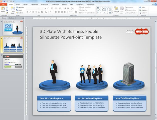 free business template with corporate slide design and 3D objects