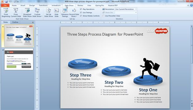 Free Three Steps Process for PowerPoint