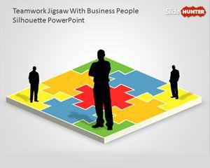 Teamwork PowerPoint Diagram with Jigsaw Illustration