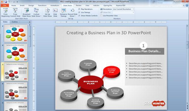 3D Business Plan Diagram Idea for PowerPoint