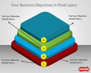 Four Piled Layers Template for PowerPoint