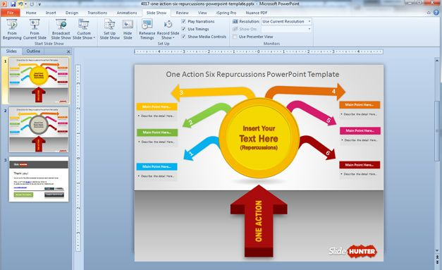 free Action Six Repercussions PowerPoint template with awesome slide design
