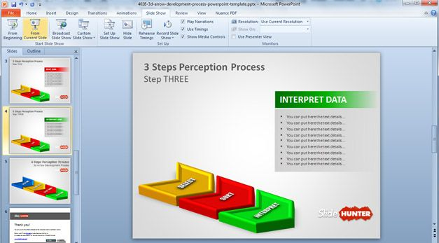 3D Three Steps PowerPoint template