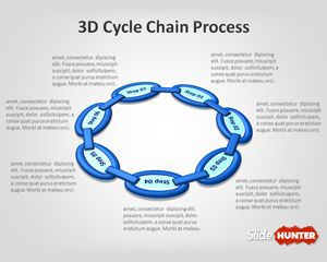 3D Cycle Chain Process PowerPoint Template