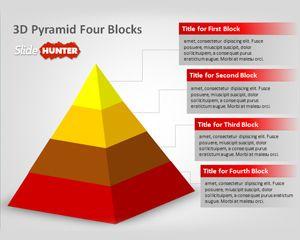 3d Pyramid Four Blocks PowerPoint Template