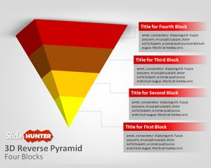 3D Reverse Pyramid Four Blocks for PowerPoint Template