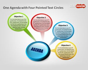 Business Agenda with Pointed Text Circles PowerPoint Template