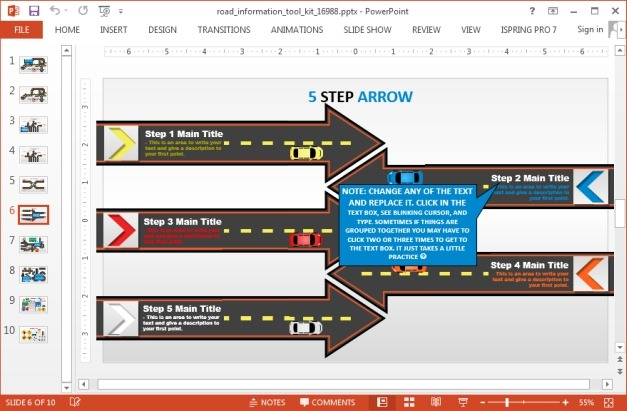 5 steps arrow diagram with road design