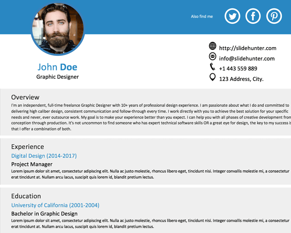 One Slide Resume Template for PowerPoint