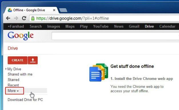 Access Google Drive Offline