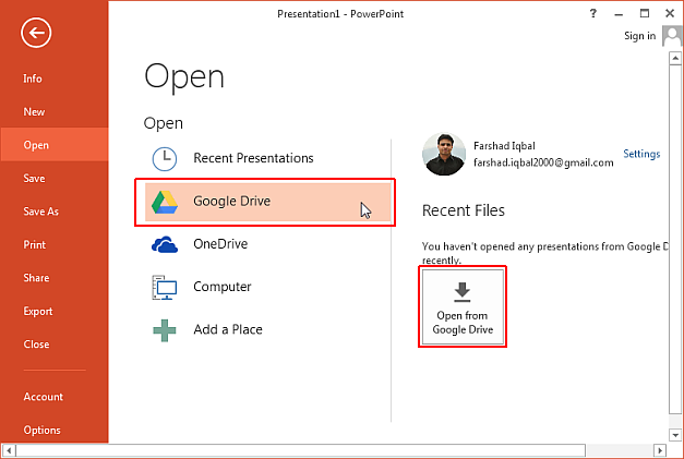 Access Google Drive files in PowerPoint