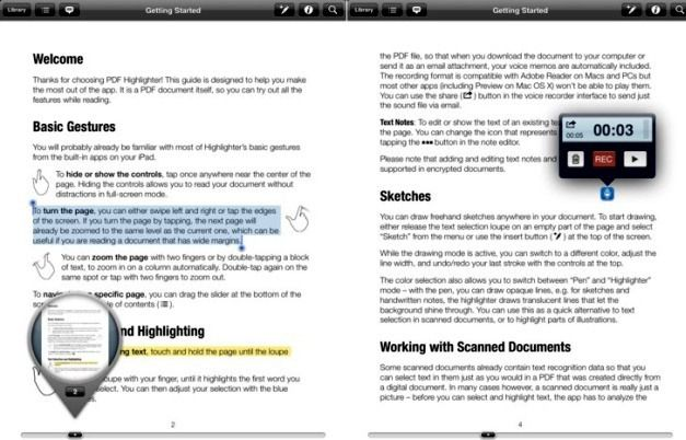 Add Text Notes, Voice Memos, Sketches And Highlight Passages