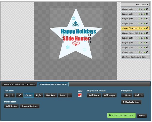 Add custom message to clipart