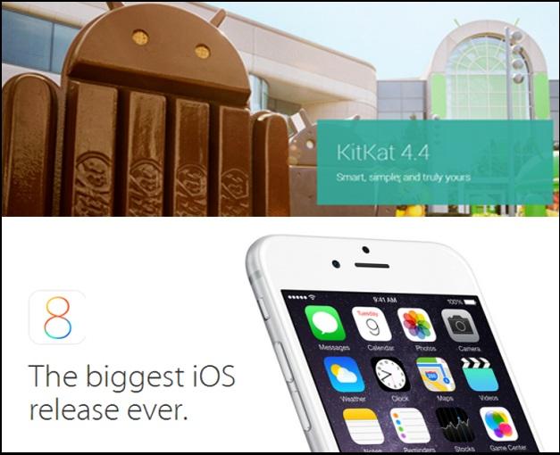 Android Kitkat vs iOS 8