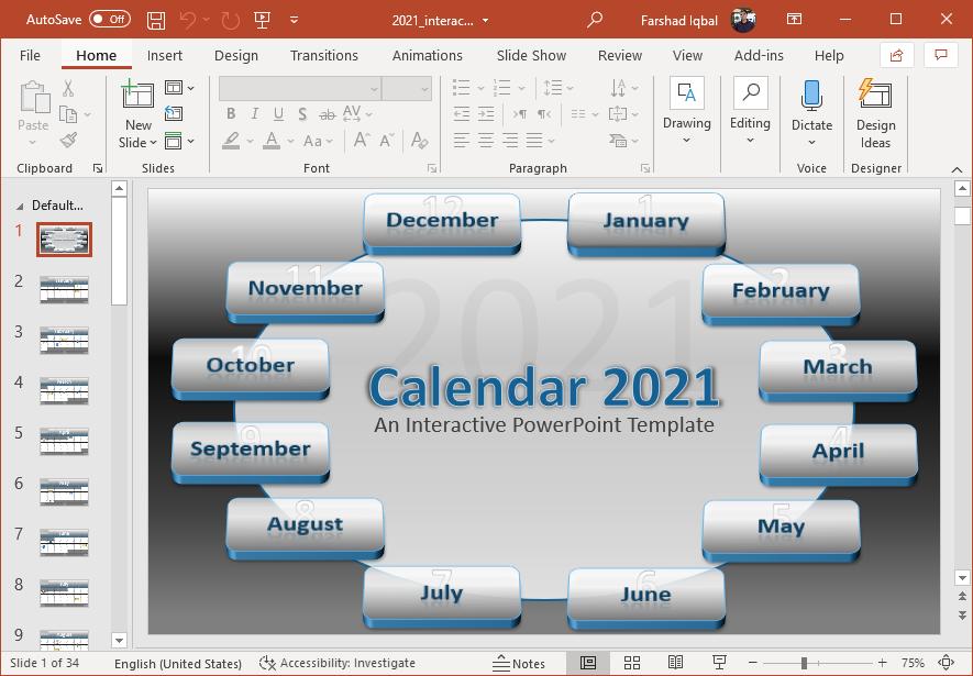 Animated 2021 calendar for PowerPoint