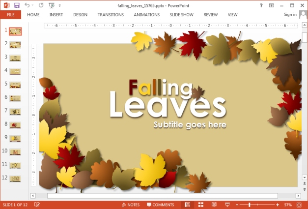 Animated Autumn PowerPoint template