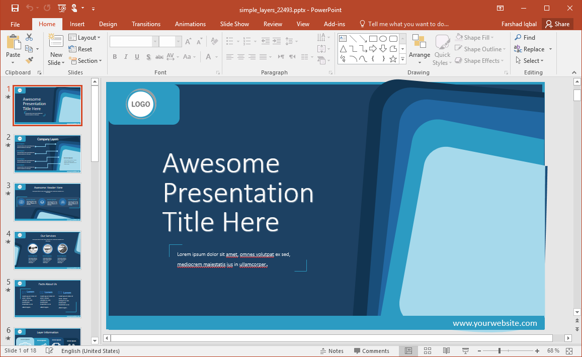 Animated Blue Layers PowerPoint Template