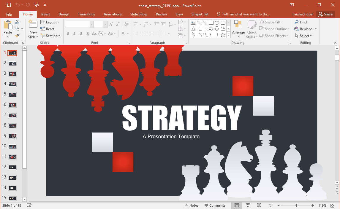 Animated Chess Strategy PowerPoint Template