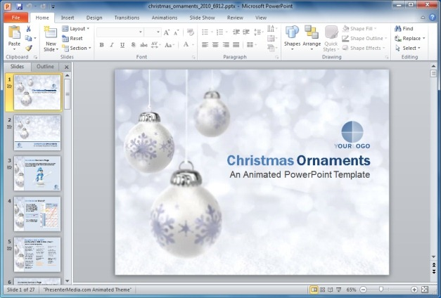 Animated Christmas Ornaments PowerPoint Template