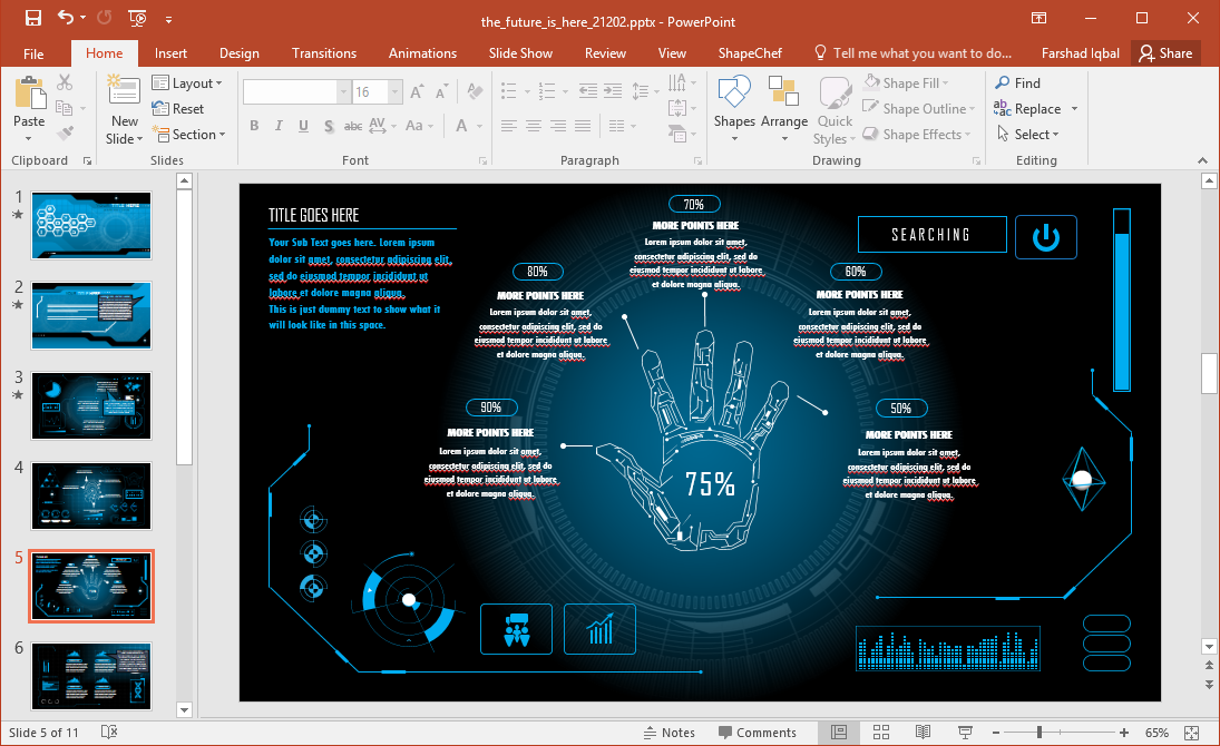 The Animated Futuristic PowerPoint Template that we have for you is a slide deck with animated slides and a futuristic design that can help you impress your audience.