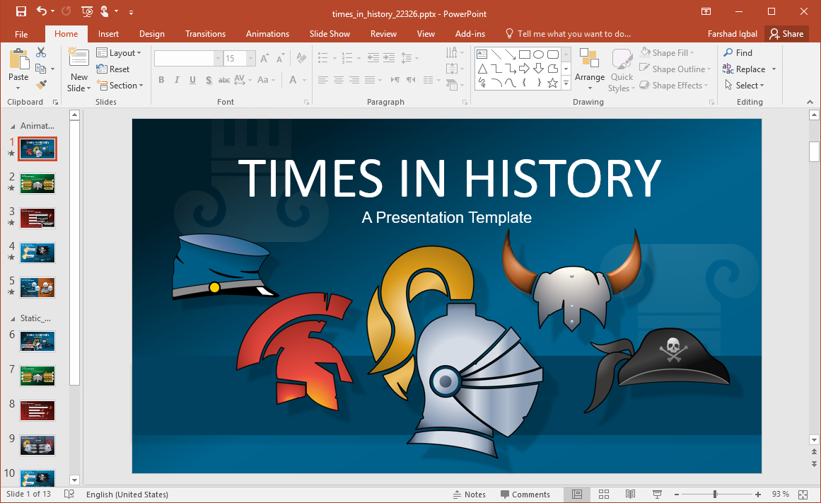 Animated History PowerPoint Template