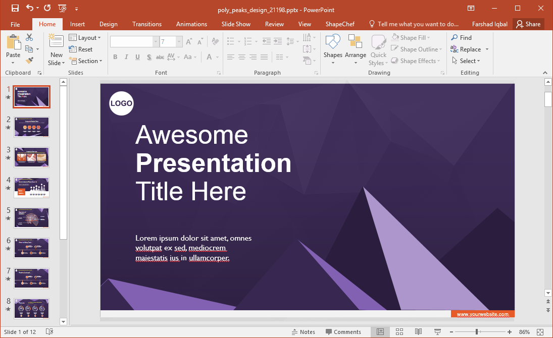 Animated Poly Peaks Template for PowerPoint
