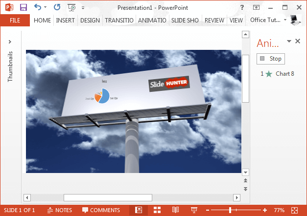Animated PowerPoint chart inside a billboard image