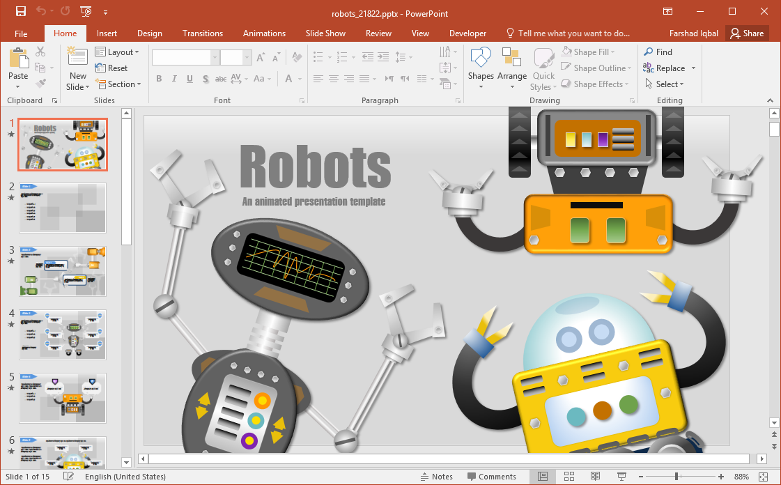 Animated Robots PowerPoint Template