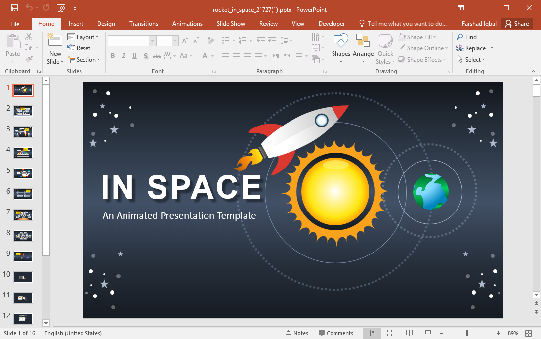 Animated Rocket in Space PowerPoint Template