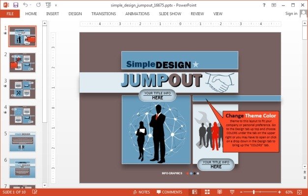 Animated Simple Design Jumpout Template for PowerPoint