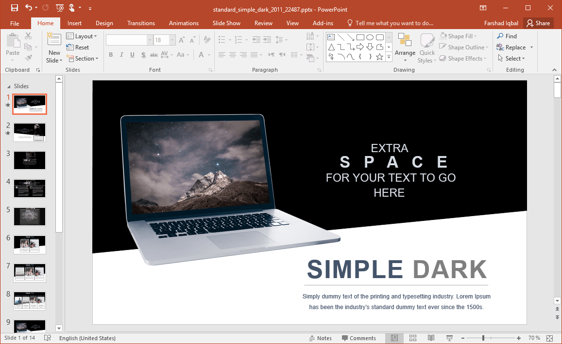 Animated Space PowerPoint Template with Dark Theme