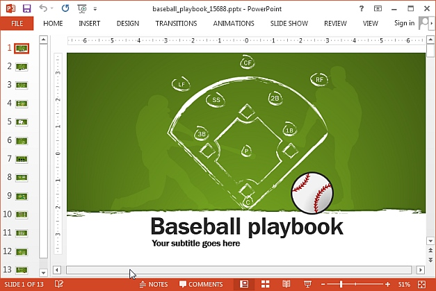 Animated baseball template for PowerPoint
