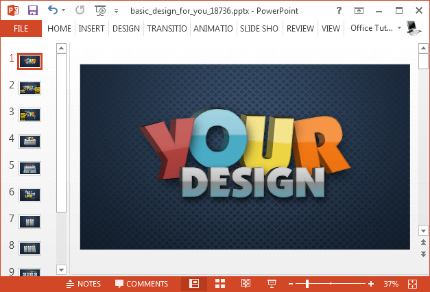Animated basic design PowerPoint template