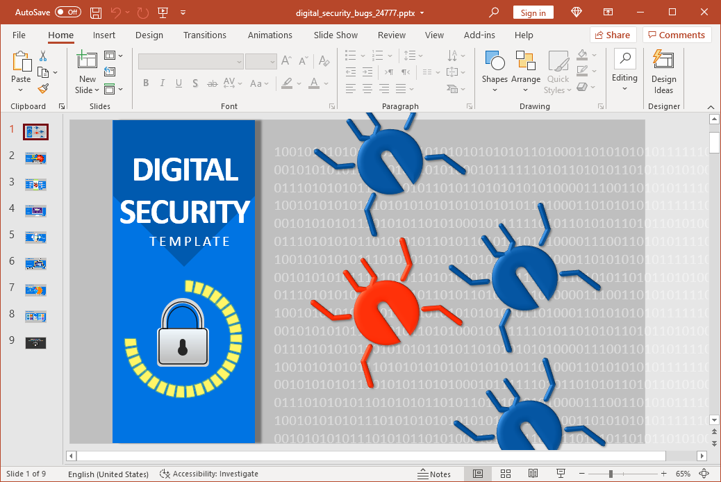 Animated bugs in digital security PowerPoint template