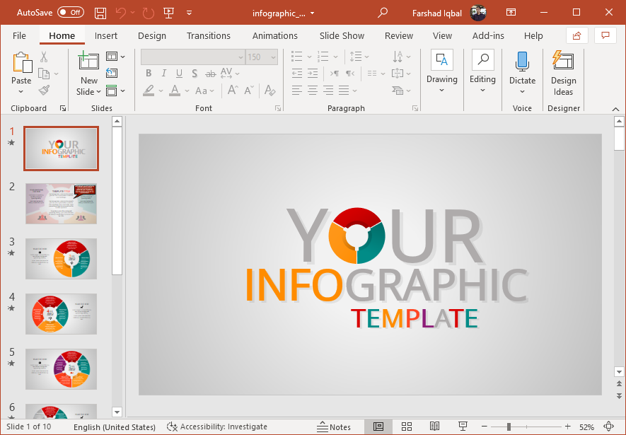 Animated business infographic template for PowerPoint