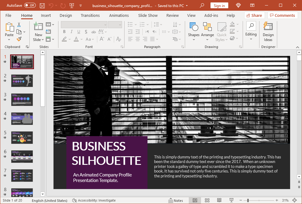 Animated business silhouette PowerPoint template