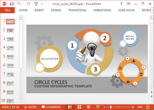 Animated circle cycles PowerPoint template