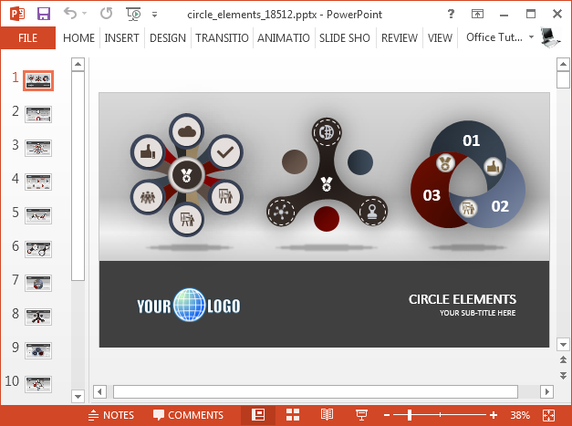 Animated circle diagram infographic template for PowerPoint