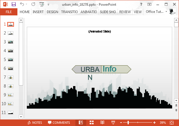 Animated city silhouette PowerPoint template