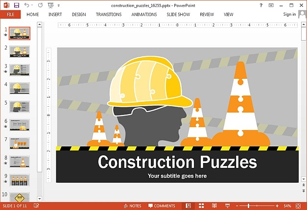 Animated construction puzzles for PowerPoint