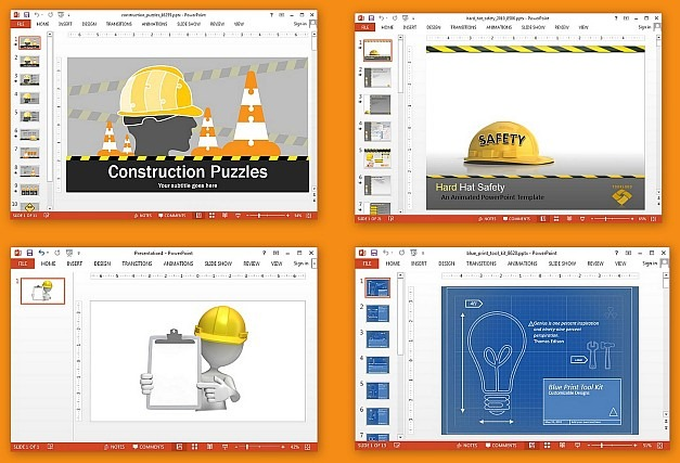 Animated construction templates for PowerPoint