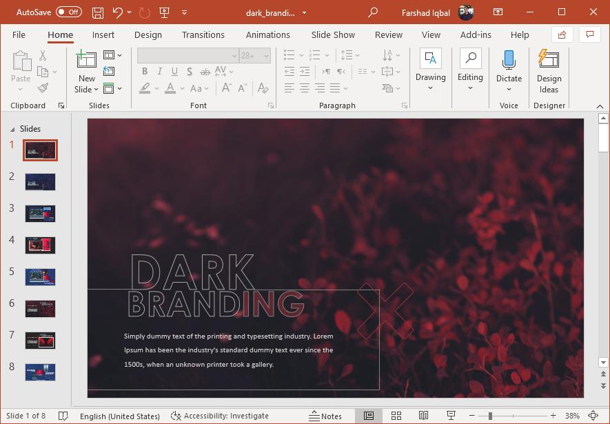 Animated dark branding PowerPoint template