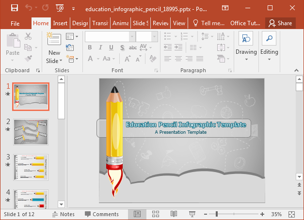 Animated educational infographics template for PowerPoint